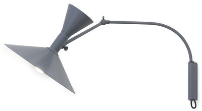 Applique avec prise Lampe de Marseille Mini by Le Corbusier / L 85 cm - Réédition 1954 - Nemo gris mat en métal