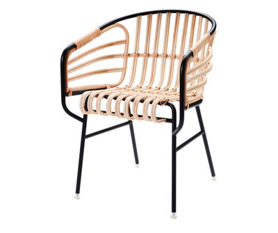 Furniture - Armchairs - Raphia Armchair by Casamania - Black - Cane, Varnished metal