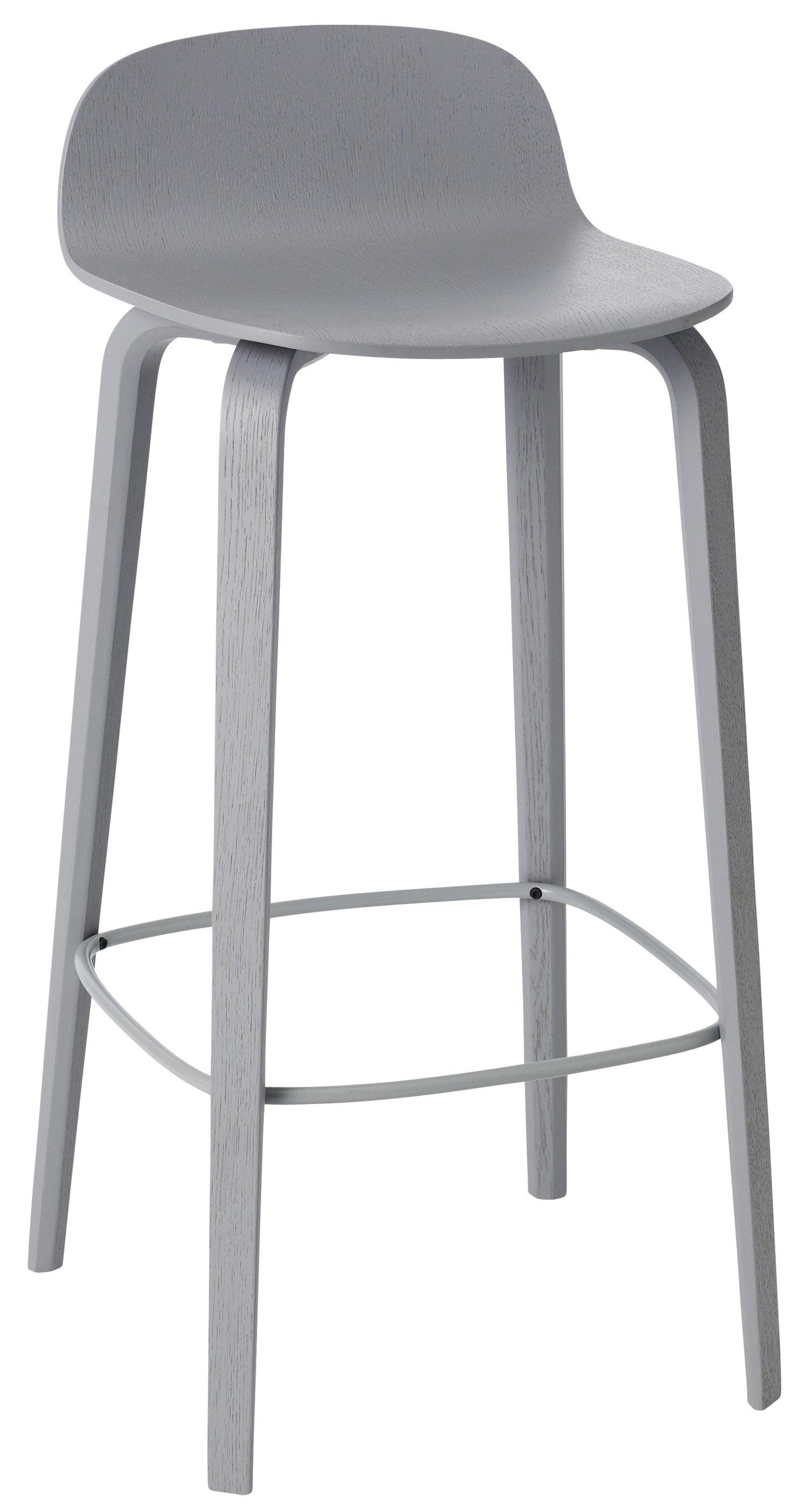 Furniture - Bar Stools - Visu Bar stool - Wood - H 75cm by Muuto - Grey - Varnished ashwood, Varnished steel