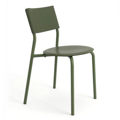 Mobilier - Chaises, fauteuils de salle à manger - Chaise empilable SSDr / Plastique recyclé - TIPTOE - Vert Romarin - Acier thermolaqué, Polypropylène recyclé