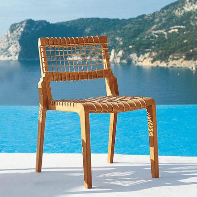 Mobilier - Chaises, fauteuils de salle à manger - Chaise empilable Synthesis / Avec coussin - Unopiu - Teck & naturel / Coussin blanc écru - Fibre synthétique Waprolace, Teck, Tissu acrylique