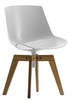 Mobilier - Chaises, fauteuils de salle à manger - Chaise pivotante Flow / 4 pieds droits chêne - MDF Italia - Blanc brillant / Piètement chêne - Chêne, Polycarbonate