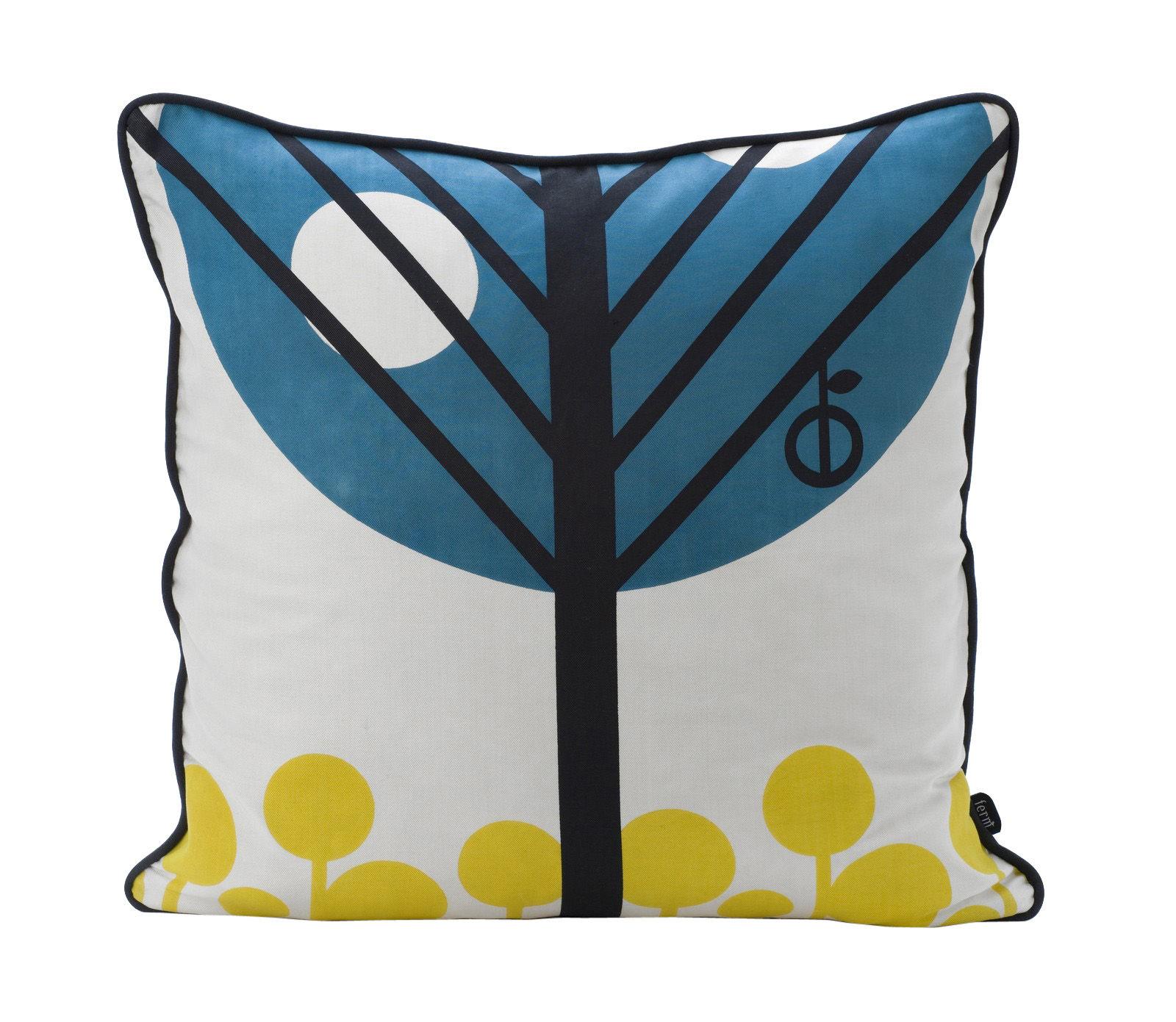 coussin apple 50 x 50 cm bleu p trole noir jaune dos noir ferm living. Black Bedroom Furniture Sets. Home Design Ideas