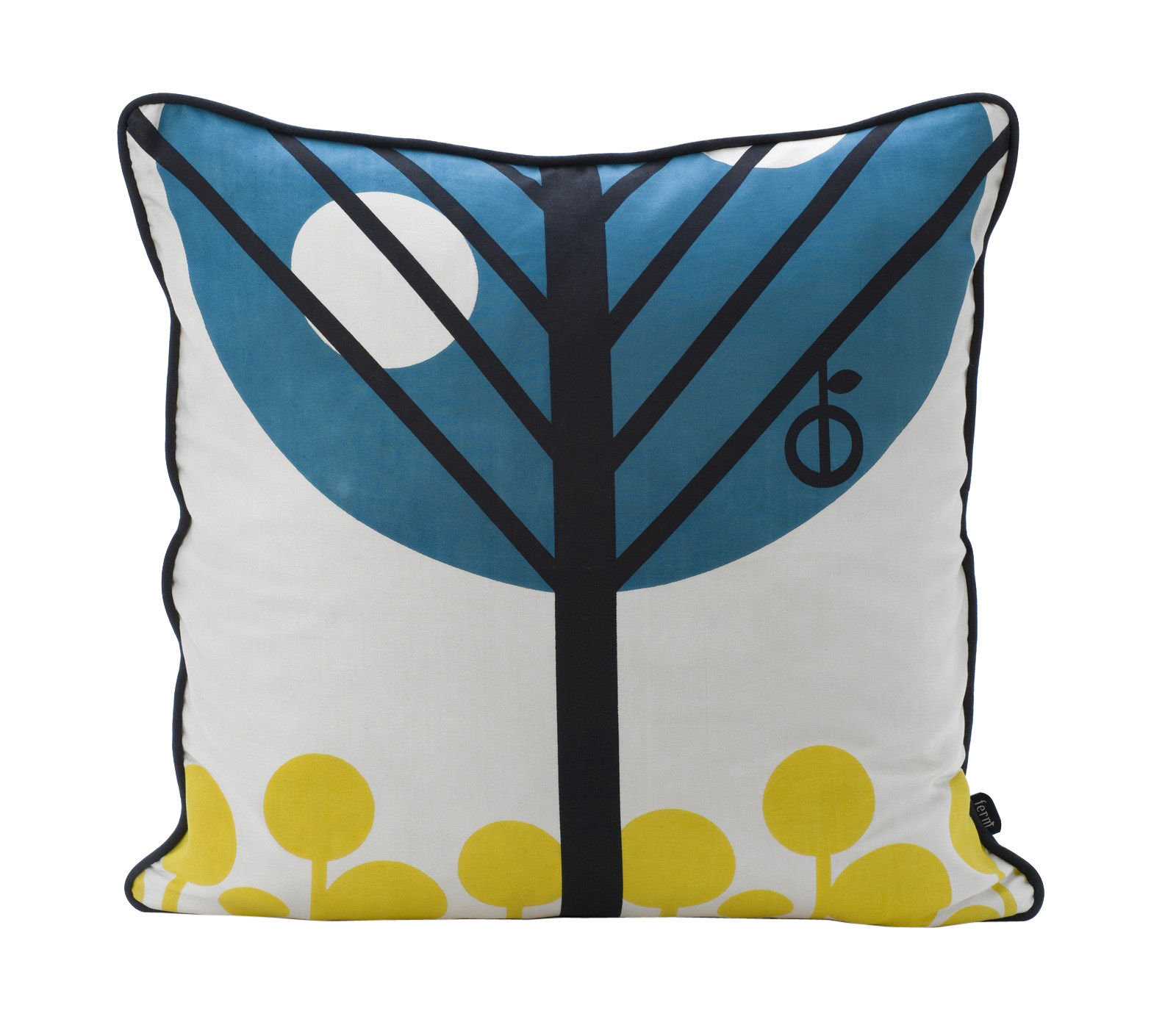 cushion apple by ferm living petrol black yellow. Black Bedroom Furniture Sets. Home Design Ideas