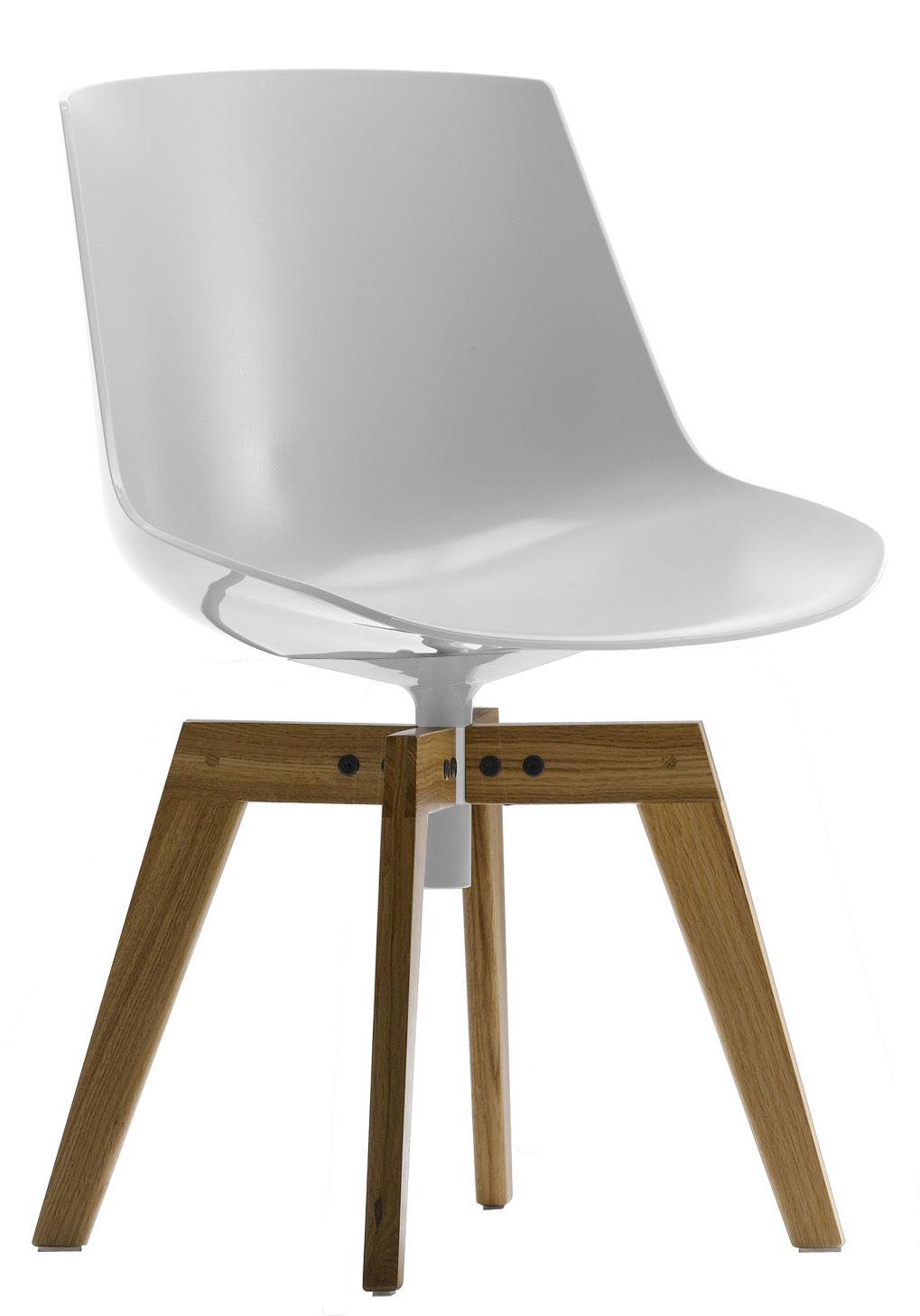 Möbel - Stühle  - Flow Drehstuhl Gestell aus Eiche -  drehbarer Stuhl - MDF Italia - Glänzend weiß - Gestell Eichenholz - Eiche, Polykarbonat
