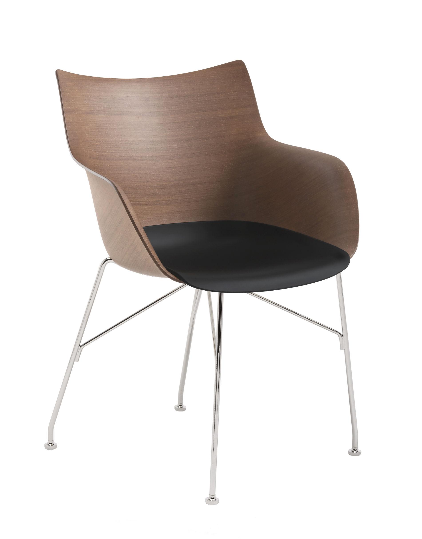 Mobilier - Chaises, fauteuils de salle à manger - Fauteuil Q/Wood / Bois moulé & plastique - Kartell - Hêtre foncé & noir / Pied chromé - Acier chromé, Contreplaqué de hêtre teinté foncé moulé, Thermoplastique