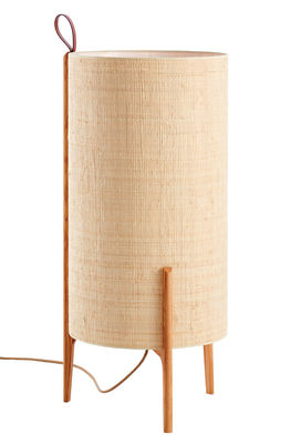 Lighting - Floor lamps - Greta Floor lamp - / Ø 40 x H 90 cm by Carpyen - Natural / Oak structure - Hessian, Solid oak