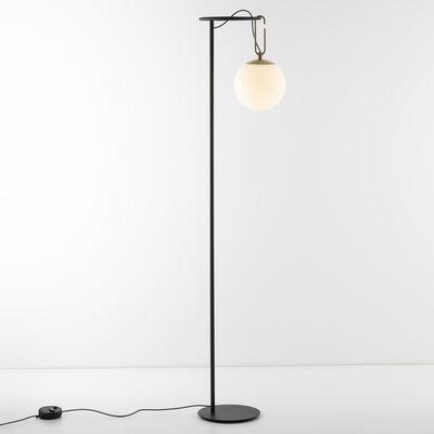 Lighting - Floor lamps - nh 22 Floor lamp - / Blown glass & metal Globe Ø 22 cm by Artemide - Black / White sphere & brass - Blown glass, Brushed brass, Metal