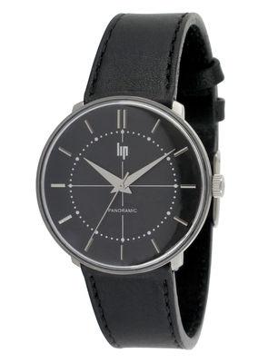 Accessoires - Montres - Montre Panoramic Precision Black - Lip - Cuir noir - Acier inoxydable, Cuir