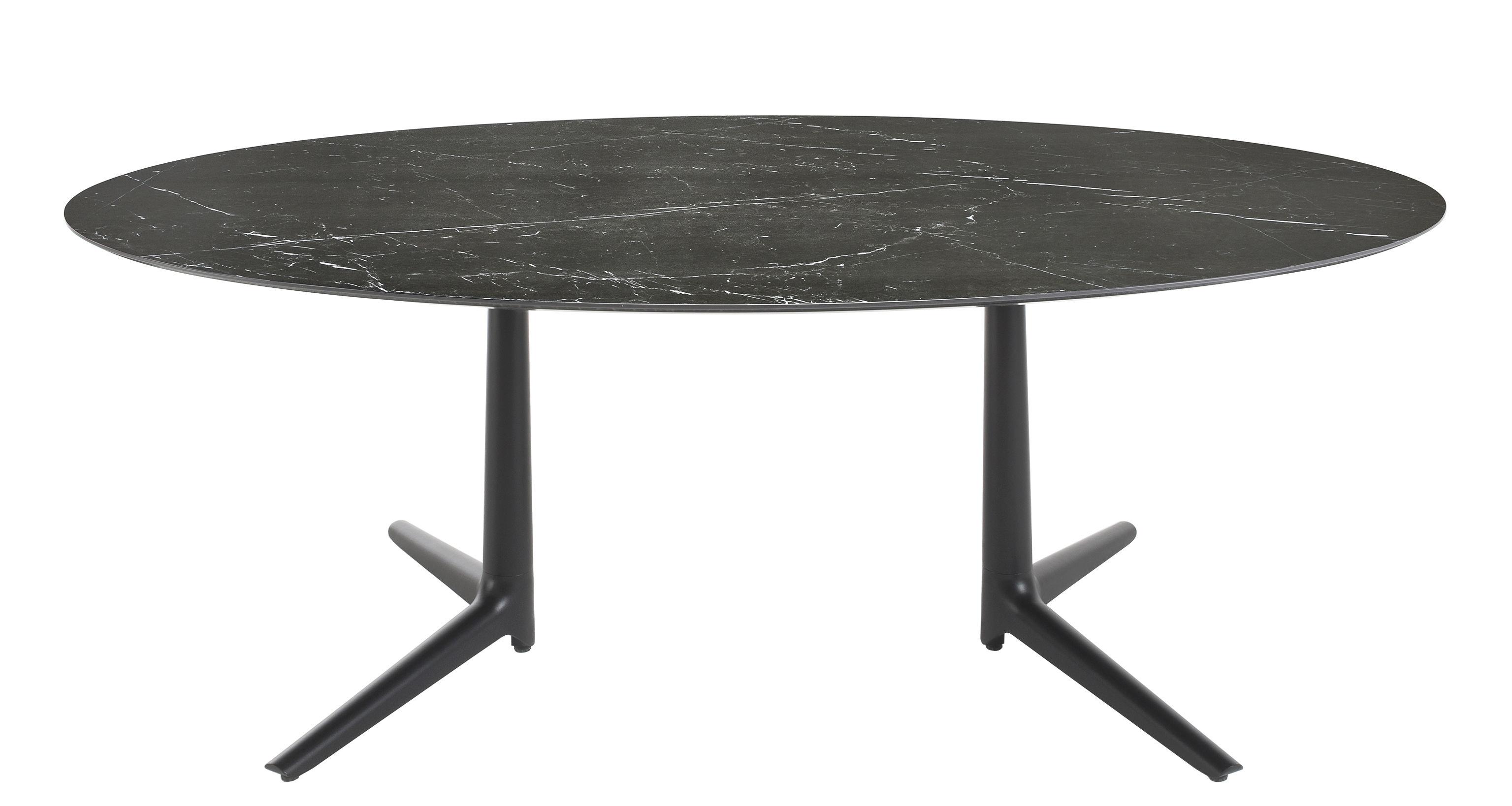 Möbel - Tische - Multiplo indoor Runder Tisch / oval - 192 x 118 cm / Steinzeug mit Marmor-Optik - Kartell - Schwarze Marmor-Optik / Tischbeine schwarz - klarlackbeschichtetes Aluminium, Steinzeug, Marmoreffekt