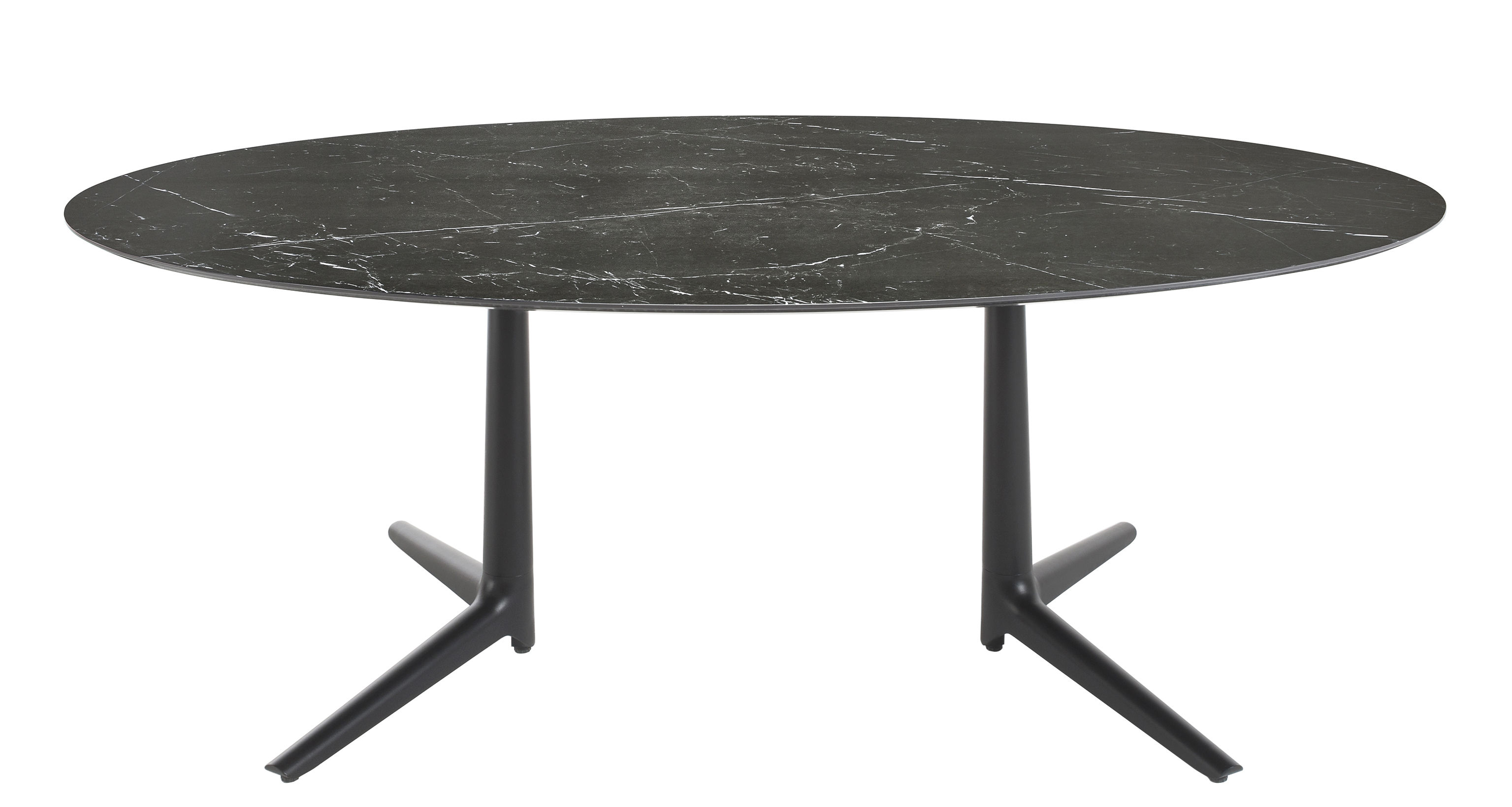 Furniture - Dining Tables - Multiplo indoor - Oval table - Ovale - 192 x 118 cm / Marble aspect by Kartell - Black / Black marble - Stoneware with marble effect, Varnished aluminium