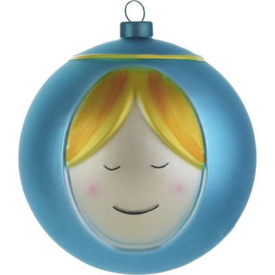 Interni - Oggetti déco - Palle di Natale Madonna - /Maria di A di Alessi - Maria- Blu & Giallo - Vetro soffiato a bocca