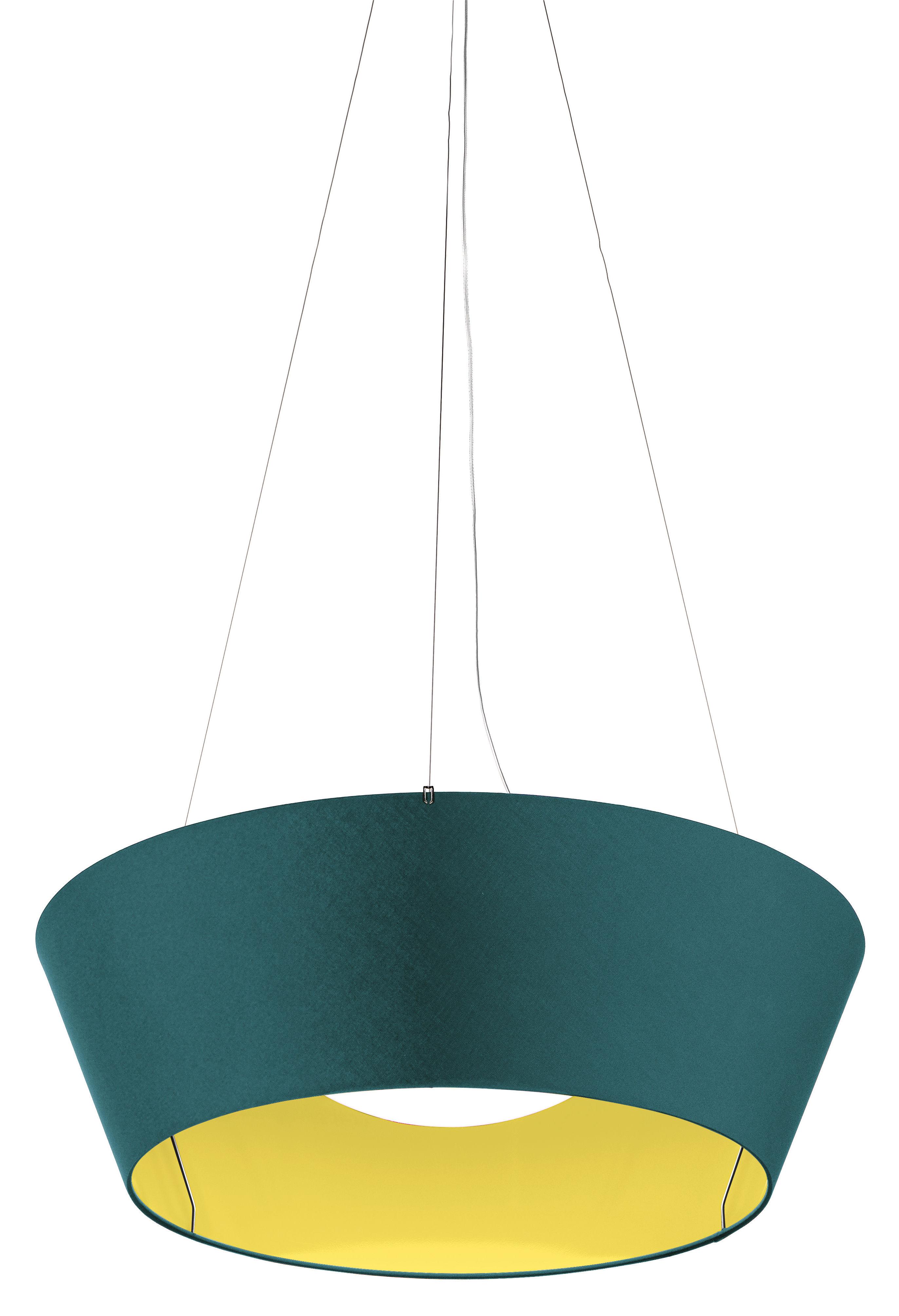 Lighting - Pendant Lighting - Reverse LED Pendant - / Ø 60 cm - Reversible by Modoluce - Dark Blue - Intérior : Yellow - Cotton
