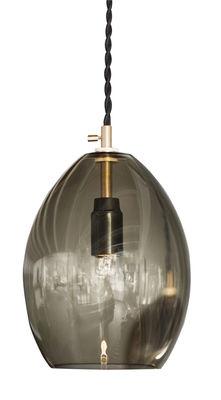 Lighting - Pendant Lighting - Unika large Pendant - H 20 cm by Northern  - Tranparent grey - Brass, Fabric, Mouth blown glass