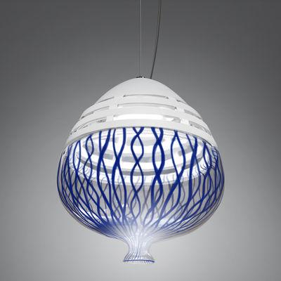 Invero LED Pendelleuchte / Ø 23 cm x H 25 cm - mundgeblasenes Glas & Aluminium - Artemide - Weiß,Blau,Transparent