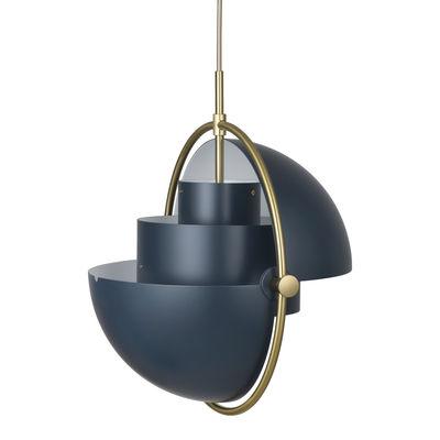 Leuchten - Pendelleuchten - Multi-Lite Large Pendelleuchte / Ø 36 cm - Modular & ausrichtbar / Neuauflage des Originalmodells 1972 - Gubi - Nachtblau / Messingring - Metall
