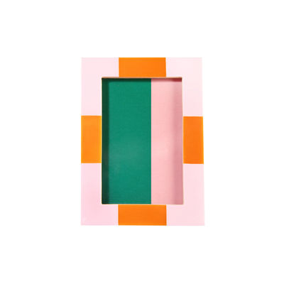 Decoration - Home Accessories - Check Rectangle Photo frame - / 13.5 x 18.5 cm - Polyresin by & klevering - Pink - MDF, Polyresin