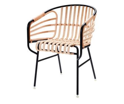 Arredamento - Poltrone design  - Poltrona Raphia di Casamania - Nero - Giunco, metallo verniciato