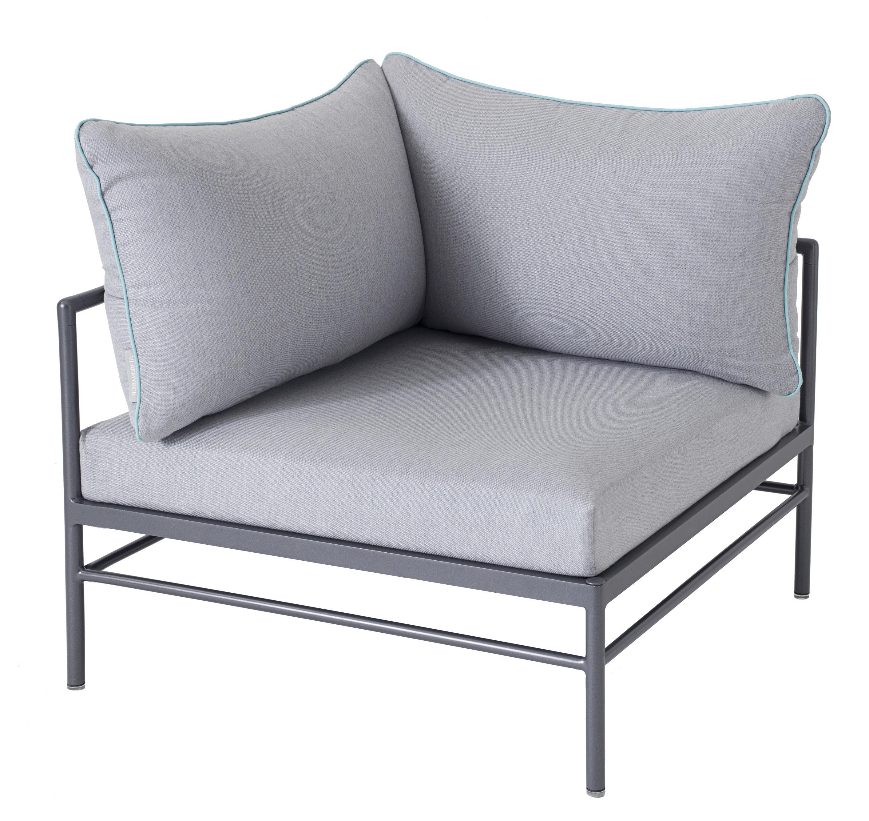 Möbel - Sofas - Rivage Sofa modulierbar / Eckmodul - Stoffbezug - Vlaemynck - Bezug grau / anthrazit - extrudiertes Aluminium, Polyurethan-Schaum, Sunbrella-Stoff