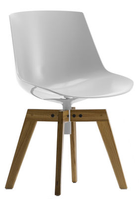 Furniture - Chairs - Flow Swivel chair - 4 oak legs by MDF Italia - White shell / Natural oak frame - Oak, Polycarbonate