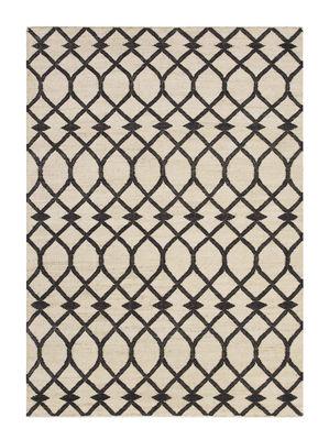 Tapis Rodas Kilim / 170 x 240 cm - Reversible - Gan noir/beige en tissu