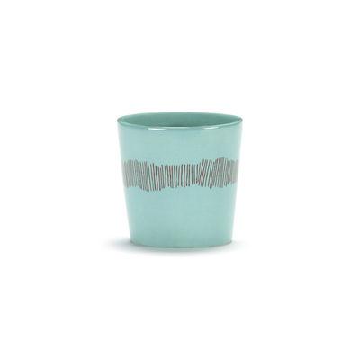 Arts de la table - Tasses et mugs - Tasse à café Feast / 25 cl - Serax - Traits / Turquoise & rouge - Grès émaillé