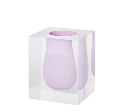 Decoration - Vases - Bel Air Scoop Vase - / Acrylic - Square - W 15 cm by Jonathan Adler - Lilac / Transparent - Acrylic