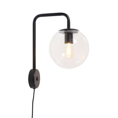 Lighting - Wall Lights - Warsaw Wall light with plug - / Glass & metal by It's about Romi - Black - Glass, Iron