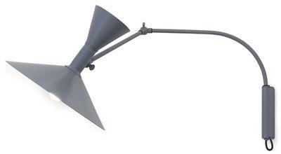 Leuchten - Wandleuchten - Lampe de Marseille Mini Wandleuchte mit Stromkabel von Le Corbusier / L 85 cm - Neuauflage des Originals von 1954 - Nemo - Grau, matt / Innenseite weiß, glänzend - bemaltes Aluminium