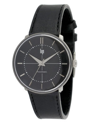 Accessories - Watches - Panoramic Precision Black Watch - Ultra-flat watch by Lip - Black - Leather, Stainless steel