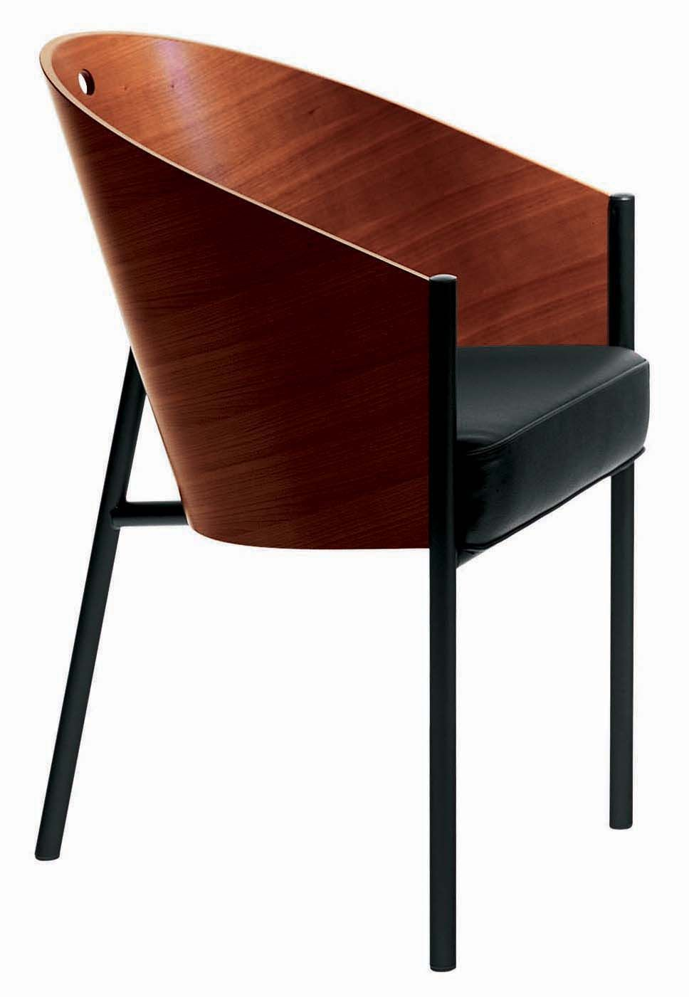 Furniture - Chairs - Costes Armchair - Wood seat by Driade - Mahogany - Lacquered steel, Leather, Mahogany