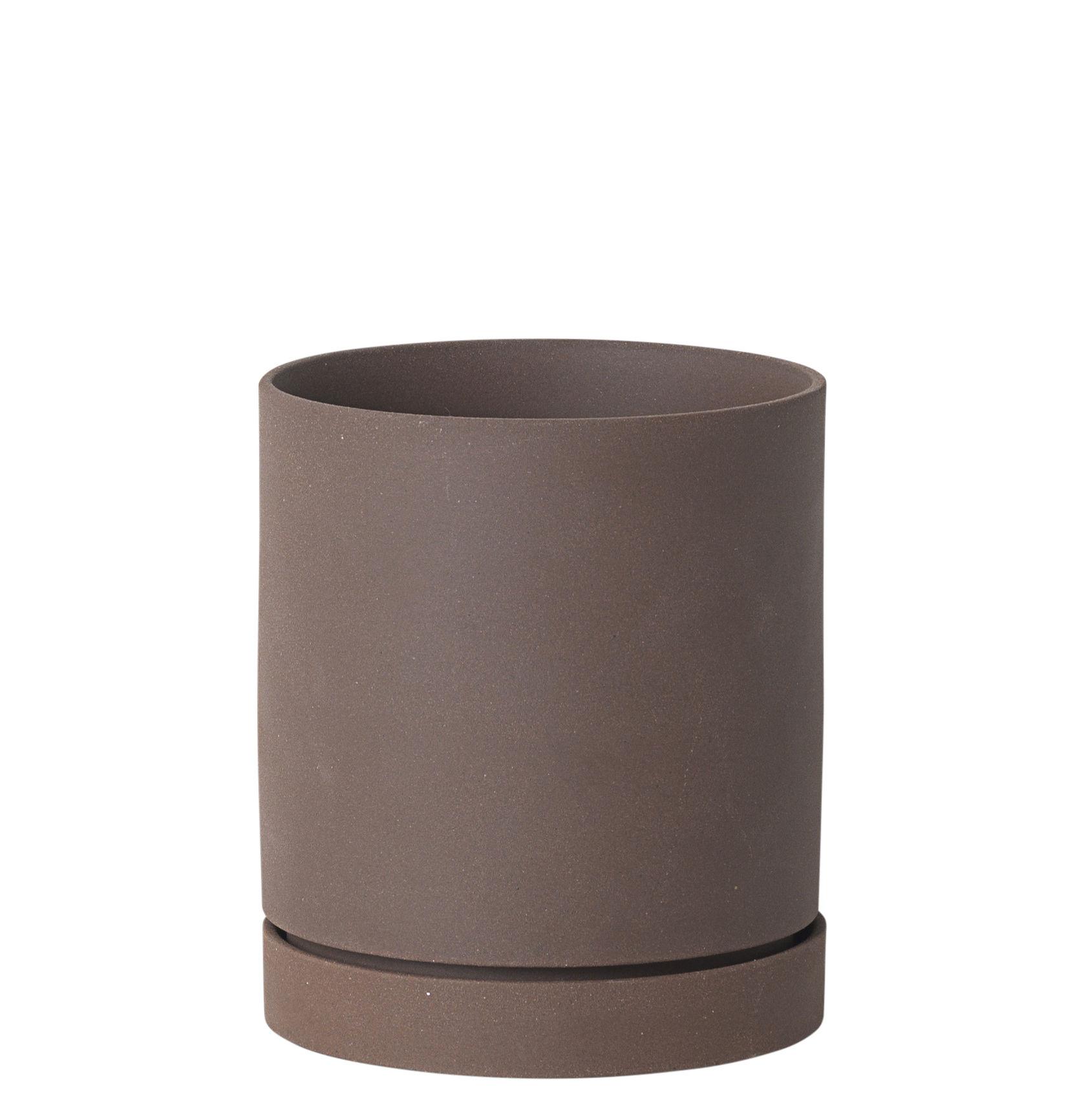 Outdoor - Töpfe und Pflanzen - Sekki Medium Blumentopf / Ø 13,5 cm x H 15,7 cm - Steinzeug - Ferm Living - Rost - Sandstein