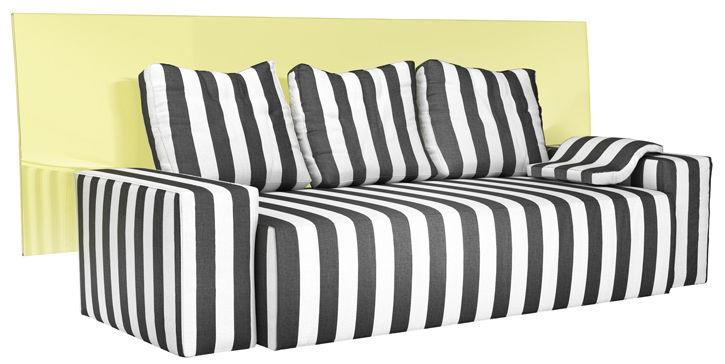 Mobilier - Canapés - Canapé droit Santa Prince / 3 places - L 240 cm - TOG - Noir & blanc / Dossier jaune transparent -  Plumes, Acrylique, Bois, Mousse, Tissu