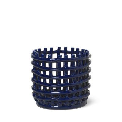 Interni - Cestini e Centrotavola  - Cesto Ceramic Small - / Ø 16 x H 14,5 cm - Fatto a mano di Ferm Living - Blu - Ceramica