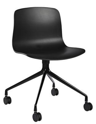 Chaise à roulettes About a chair AAC14 / Pivotante - Hay noir en métal