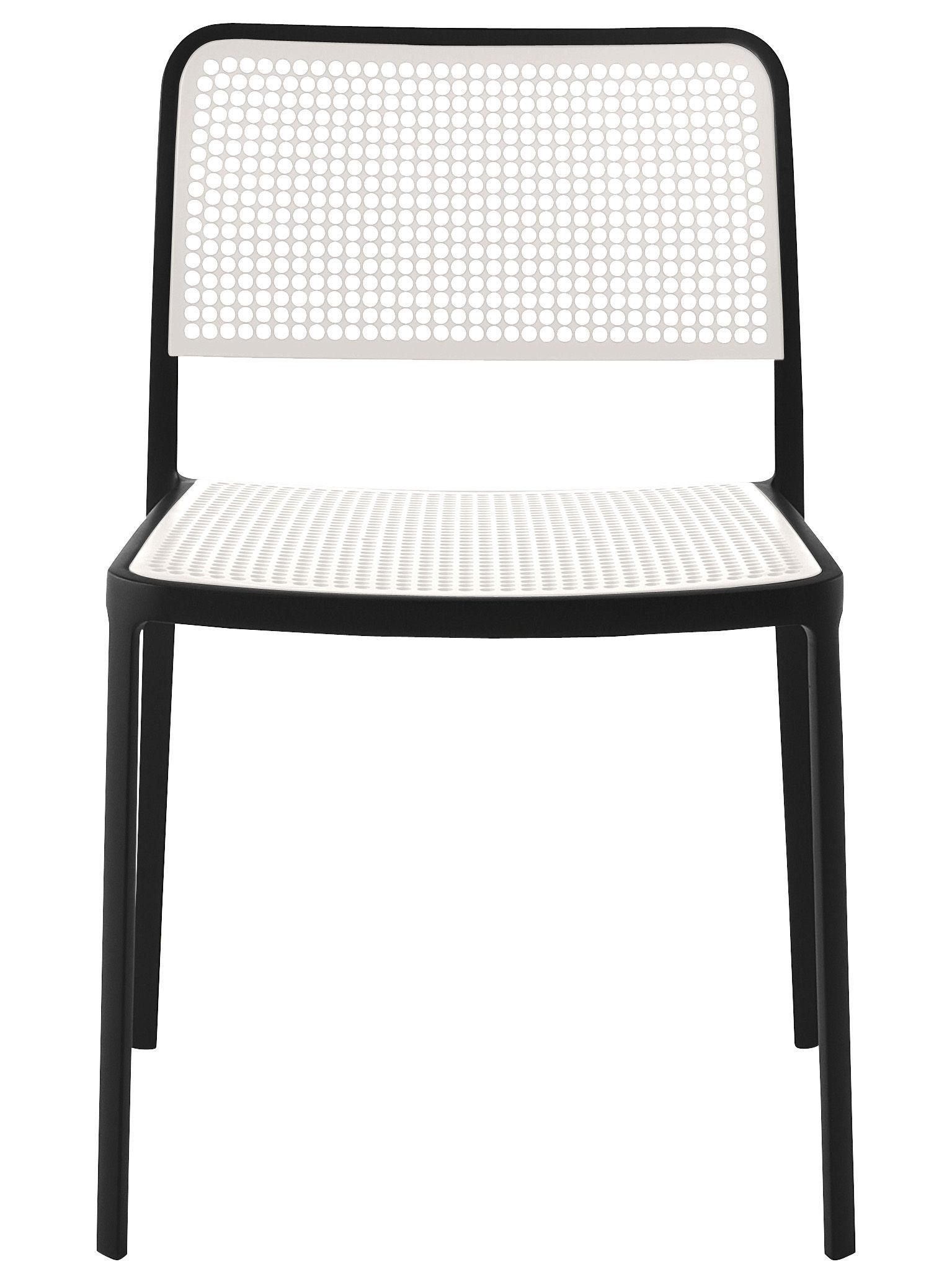 Mobilier - Chaises, fauteuils de salle à manger - Chaise empilable Audrey - Kartell - Structure noire / Assise et dossier blancs - Aluminium laqué, Polypropylène