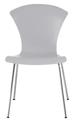 Chaise empilable nihau assise plastique pieds m tal bleu gris nuage kartell for Chaise empilable plastique
