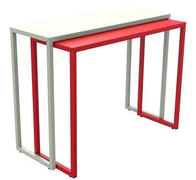 Arredamento - Mobili da ufficio - Console: Briz - scorrevole / Larghezza da 35 a 70 cm di Matière Grise - Console superiore bianca / Console inferiore rossa - Acciaio verniciato epossidico