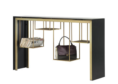 Furniture - Console Tables - Tokyo Console - / L 150 cm - Metal & Paperstone by Mogg - Black -  Paperstone recyclé, Lacquered metal