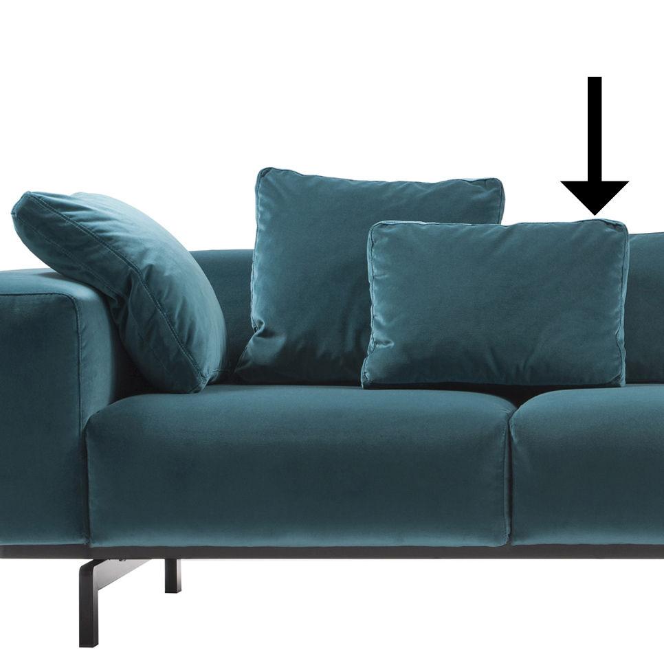 Mobilier - Canapés - Coussin Largo Velluto / Velours - 48 x 35 cm - Kartell - Velours / Bleu canard - Polyuréthane expansé, Velours