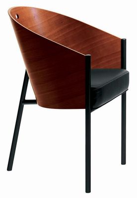 Mobilier - Chaises, fauteuils de salle à manger - Fauteuil Costes / Coque bois - Driade - Acajou / Pieds noirs - Acajou, Acier laqué, Cuir