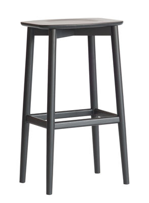 Furniture - Bar Stools - Lara High stool - / Wood - H 65 cm by Ercol - Black - Stained solid ash