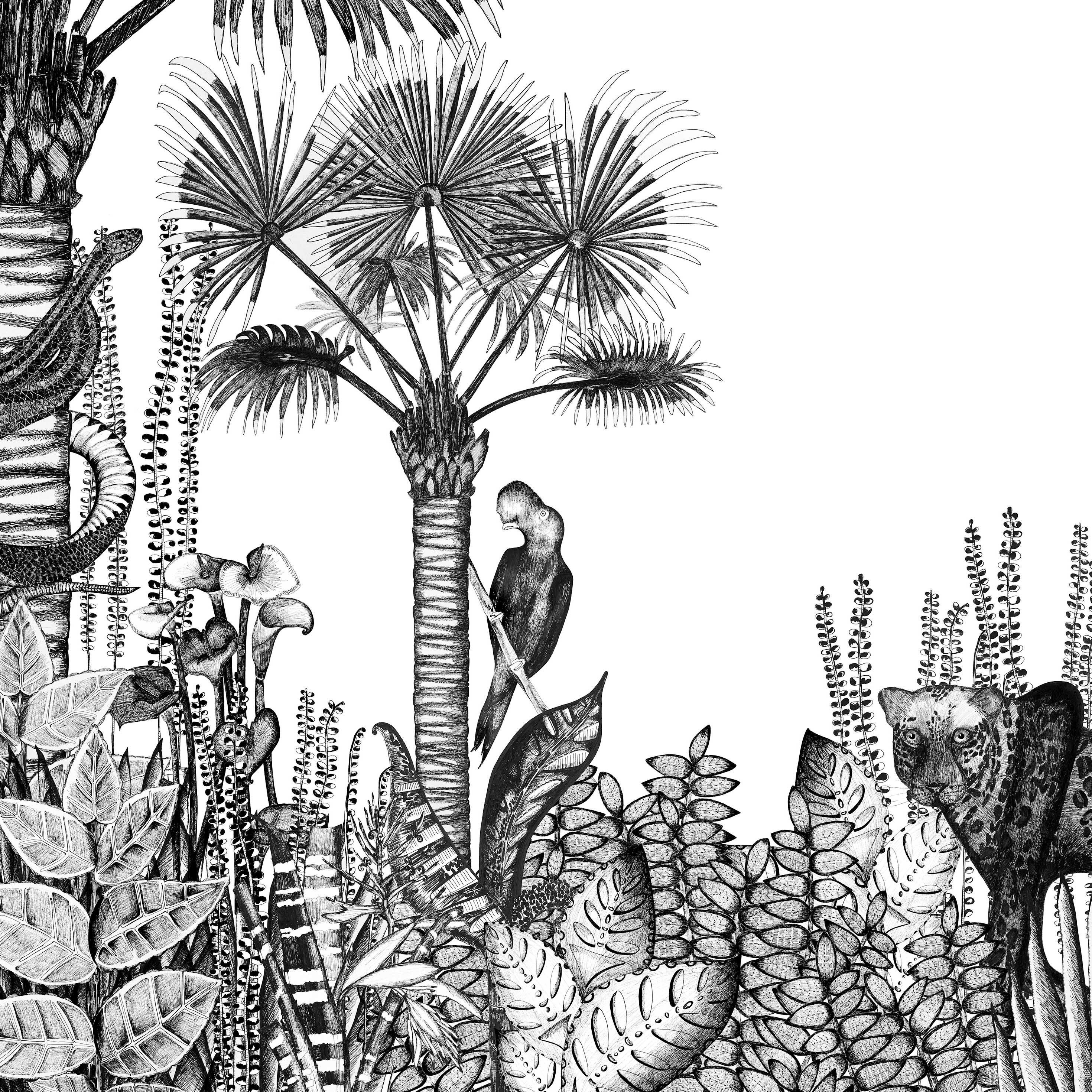 Déco - Stickers, papiers peints & posters - Papier peint panoramique The Wild / L 360 x H 280 cm (6 lés de L 60 cm) - Bien Fait - Blanc / Noir - Papier intissé