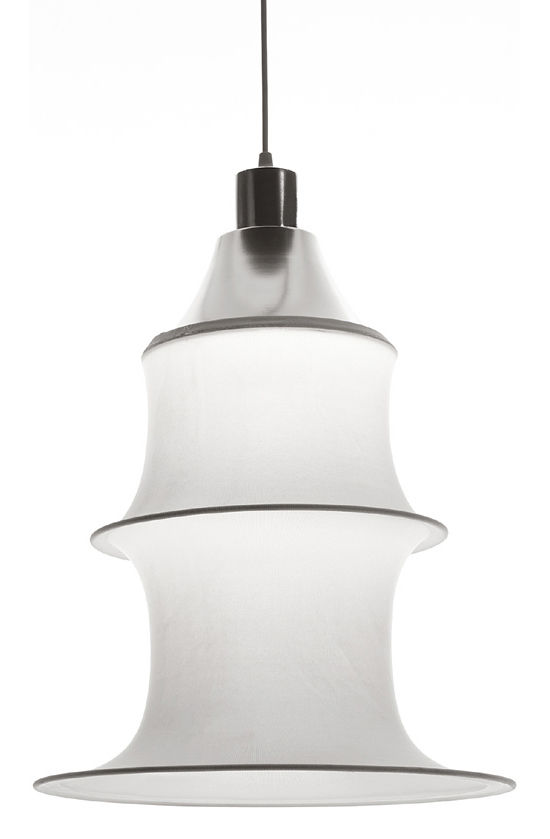Lighting - Pendant Lighting - Falkland Pendant - H 53 cm by Danese Light - White - non fireproof version - Elasticated fabric, Steel