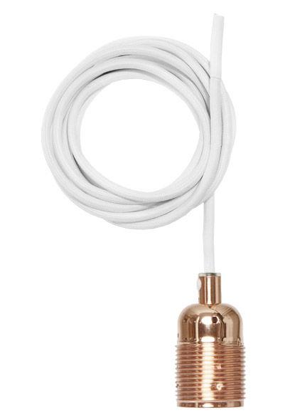 Leuchten - Pendelleuchten - Frama Kit Pendelleuchte / Set aus Kabel mit weißer Textilummantelung + E27-Fassung - Frama  - Kupfer / Kabel weiß - Gewebe, Kupfer