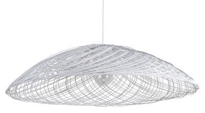 Satélise L Pendelleuchte / Rattan - Ø 100 cm - Forestier - Weiß