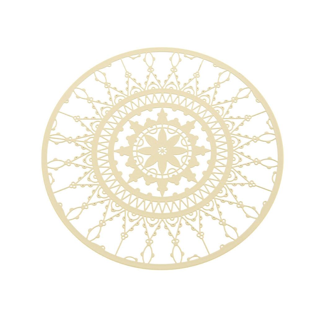 Tavola - Accessori  - Sottobicchiere Italic Lace / Ø 10 cm - Set da 4 - Driade Kosmo - Bianco - Ottone