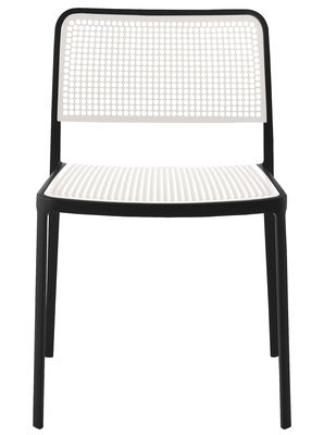 Furniture - Chairs - Audrey Stacking chair by Kartell - Black / white - Lacquered aluminium, Polypropylene