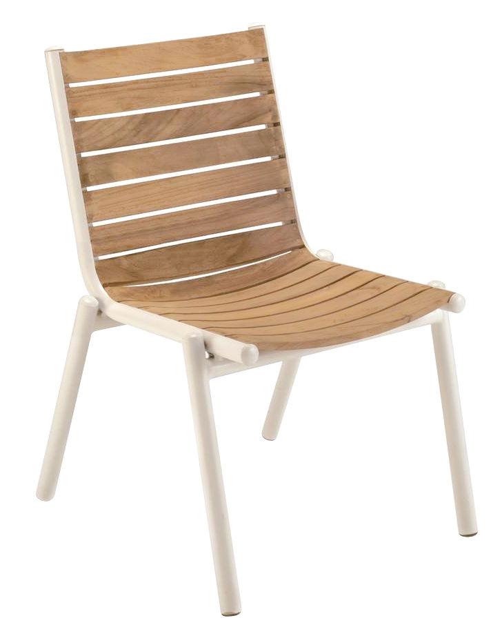 Furniture - Chairs - Pilotis Stacking chair - Teak by Vlaemynck - Teak / White - Lacquered aluminium, Oiled teak