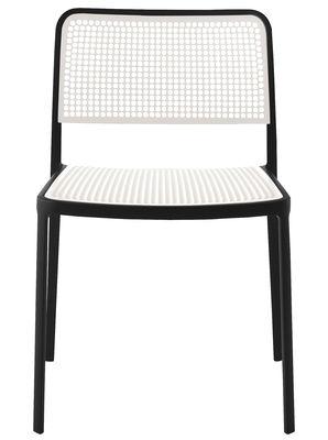 Möbel - Stühle  - Audrey Stapelbarer Stuhl - Kartell - Gestell schwarz / Sitzfläche und Lehne weiß - lackiertes Aluminium, Polypropylen